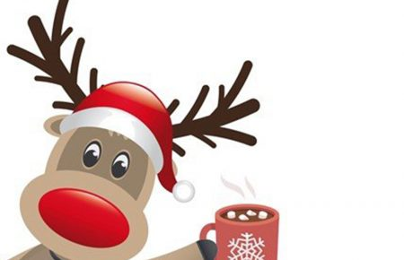reindeer holding a hot chocolate