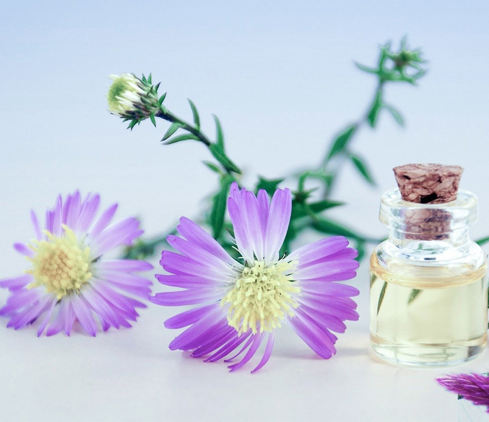 aromatherapy oil and flower