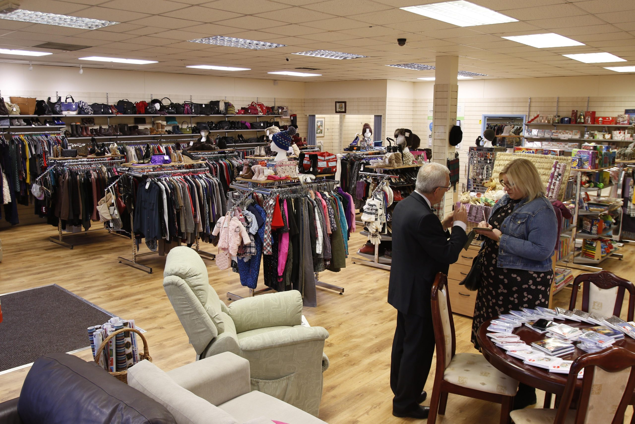 Internal photo of a Longfield Hospice shop