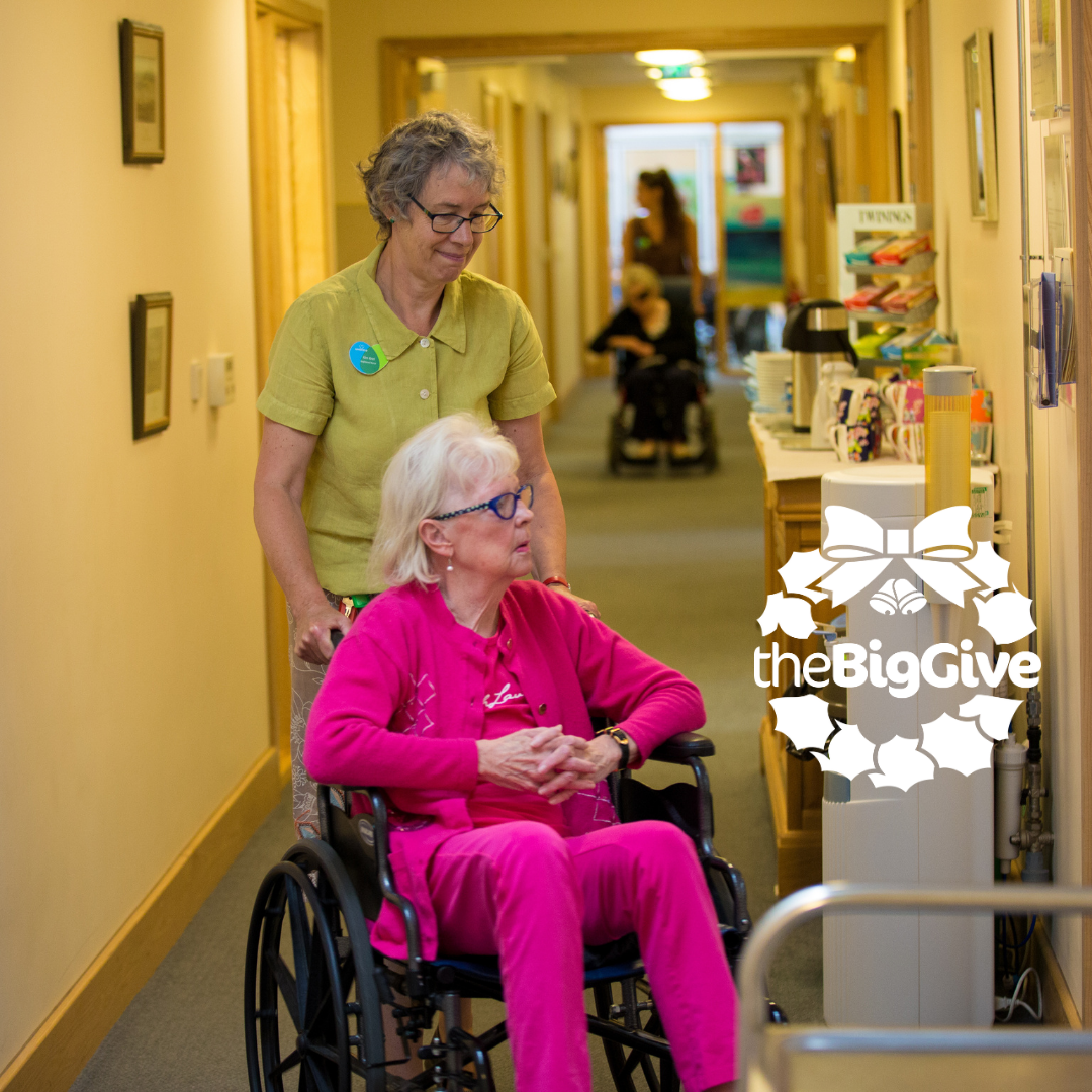 Patient in wheelchair at Longfield Hospice