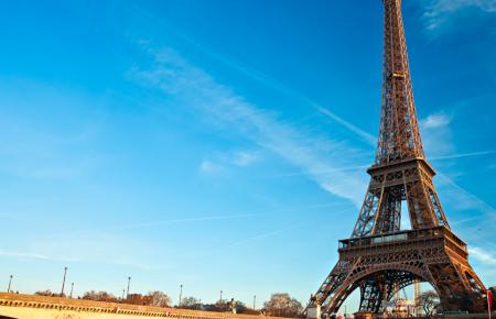the Eiffel Tower on blue skies