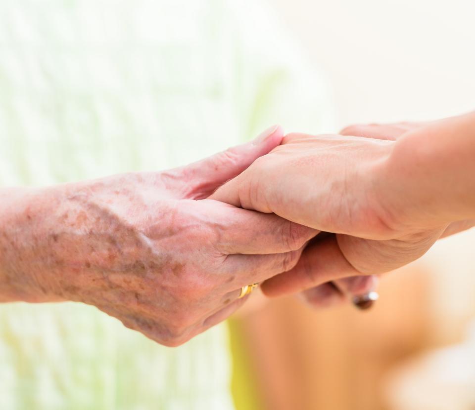 Adult Carers handholding